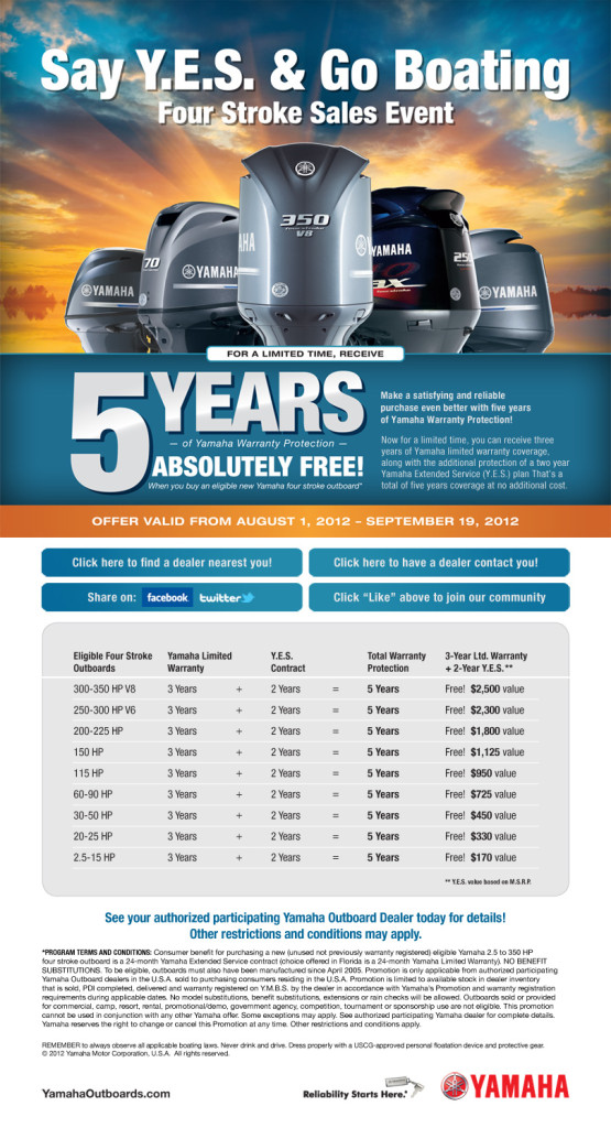 5 years of yamaha engine warranty absolutely free ends for Yamaha yes warranty